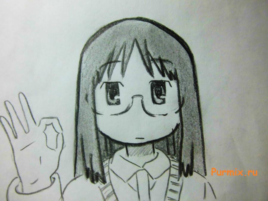 Рисуем Маи Минаками из Мелочи жизни карандашами - шаг 6