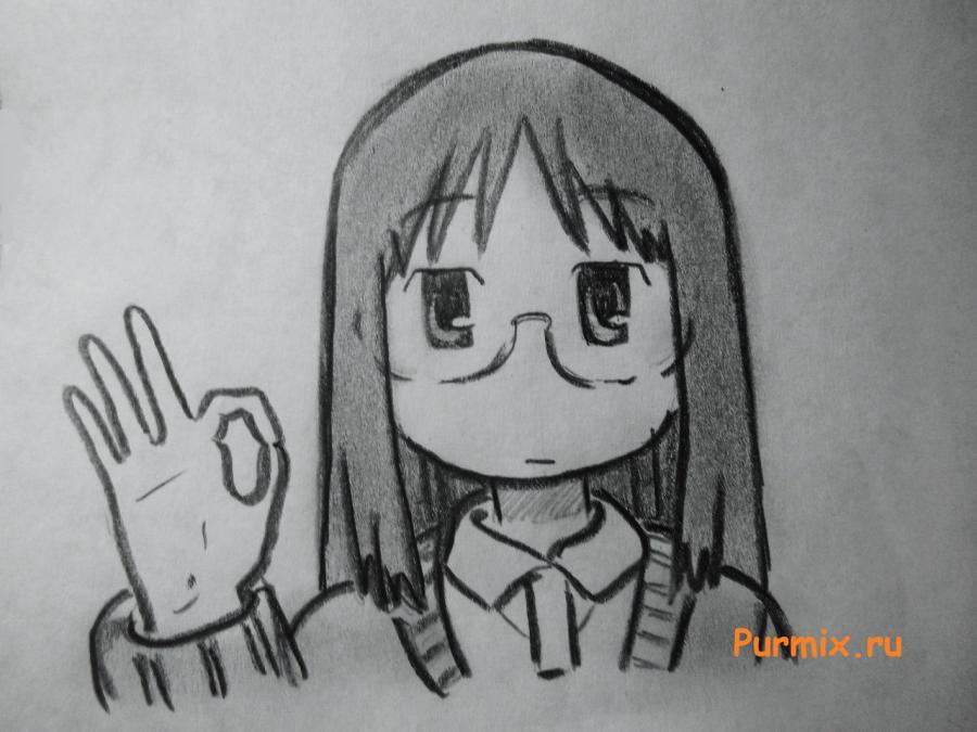 Рисуем Маи Минаками из Мелочи жизни карандашами - шаг 7