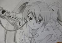 Майн из аниме Убийца Акаме простым карандашом