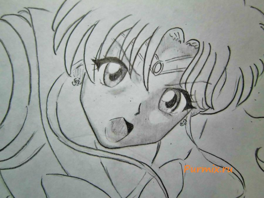 Рисуем Макото Кино карандашами - шаг 5