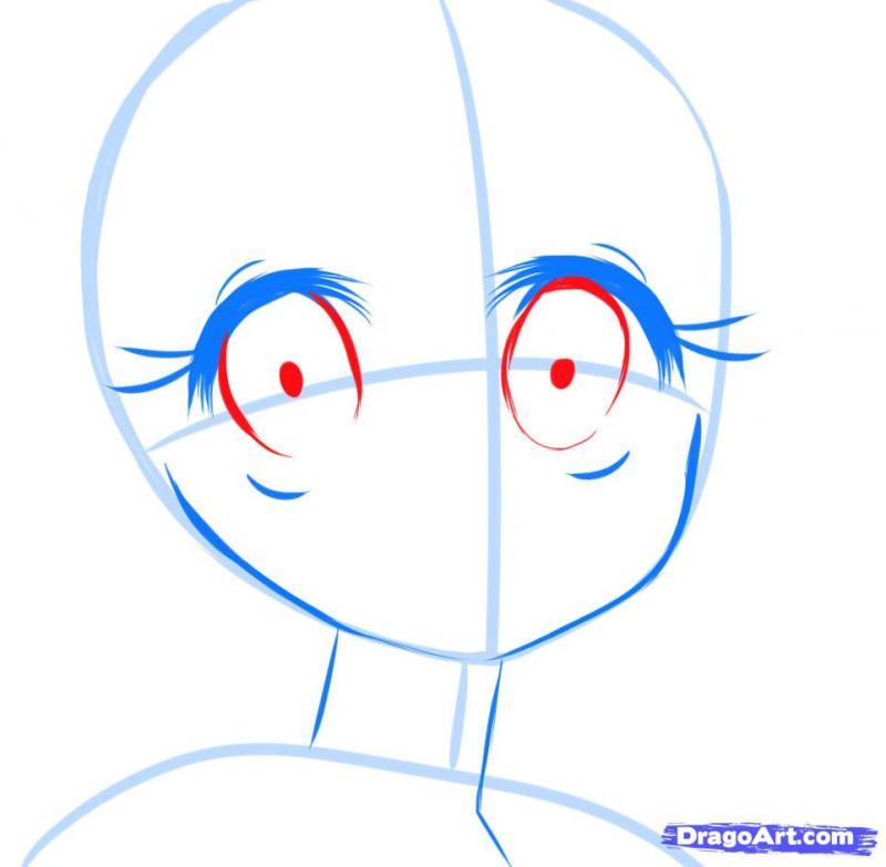 Рисуем манга девушку с красивыми глазами - шаг 4