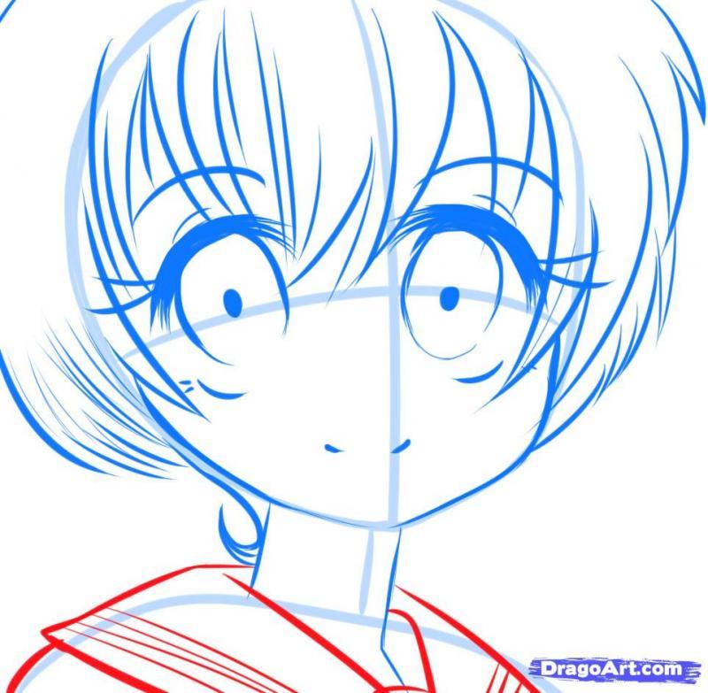 Рисуем манга девушку с красивыми глазами - шаг 7
