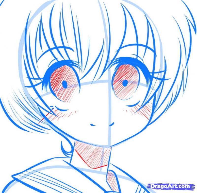 Рисуем манга девушку с красивыми глазами - шаг 8