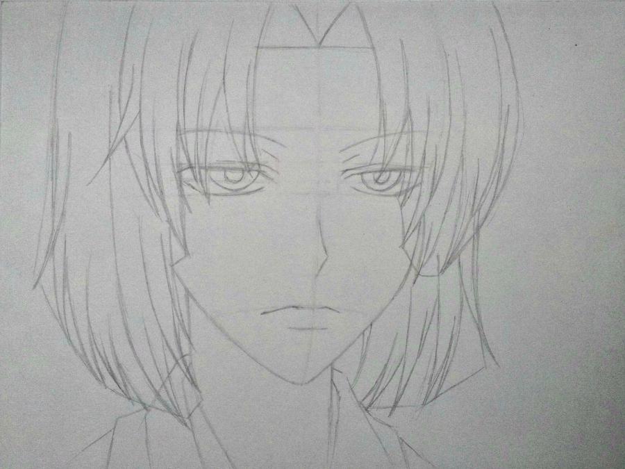 Рисуем Микагэ из Очень приятно, Бог простым - шаг 6