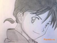Микору из аниме Инуяша карандашом на бумаге