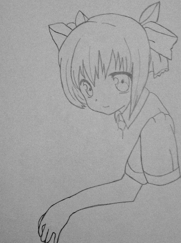 Рисуем Мику обнимающую Андроид простым - шаг 7