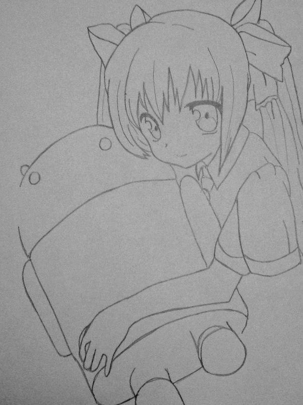 Рисуем Мику обнимающую Андроид простым - шаг 9