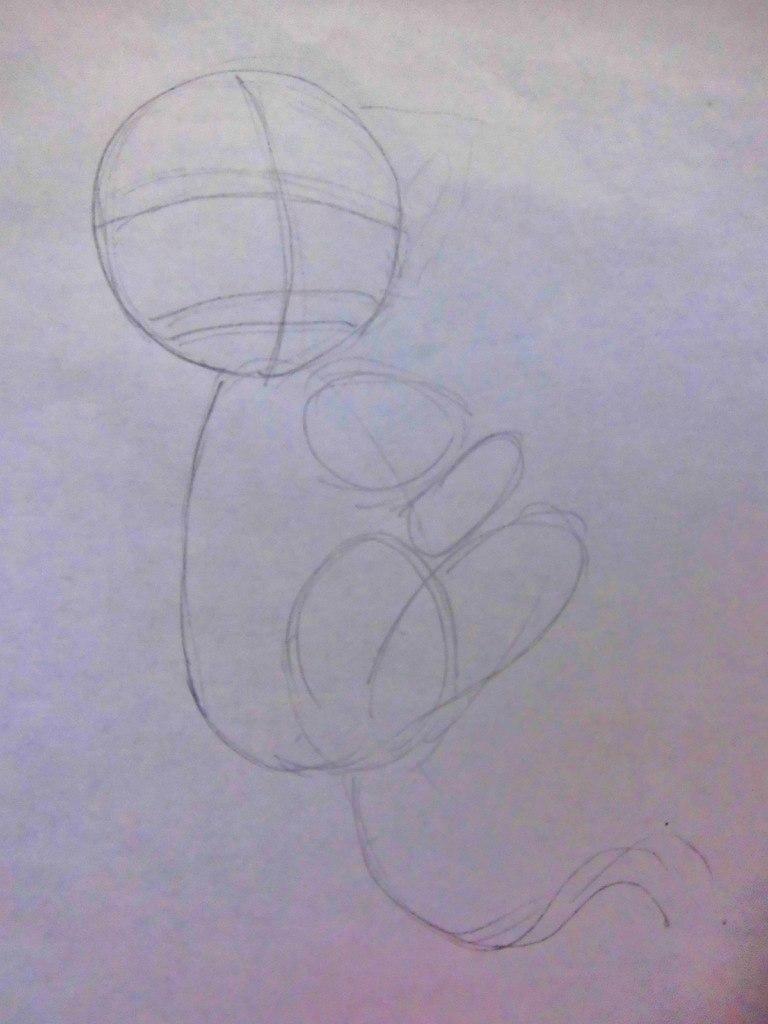 Рисуем аниме котенка - шаг 1