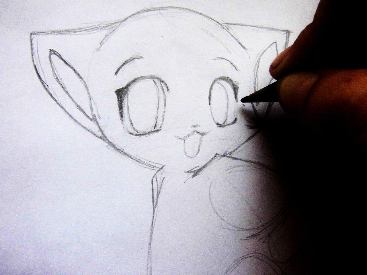 Рисуем аниме котенка - шаг 4