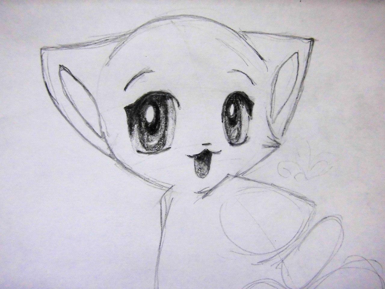 Рисуем аниме котенка - шаг 6