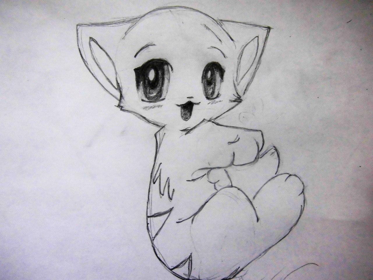 Рисуем аниме котенка - шаг 7