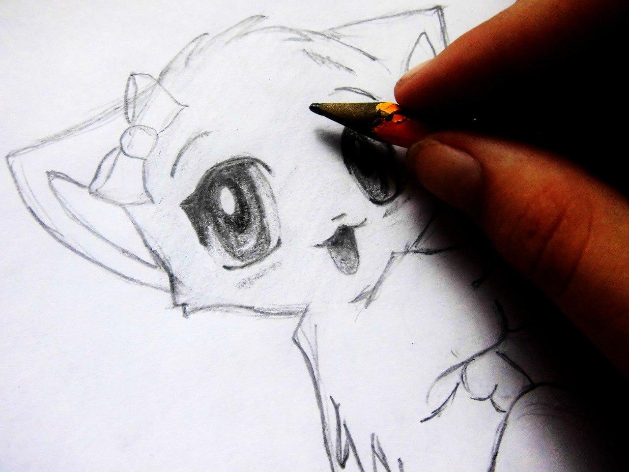 Рисуем аниме котенка - шаг 9