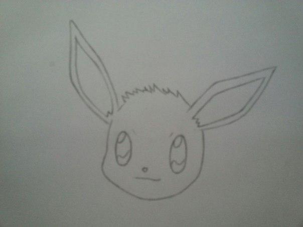 Рисуем милого покемона Иви - шаг 2