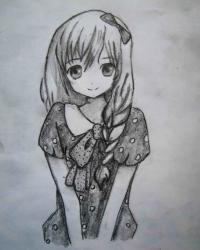 милую аниме девушку карандашом