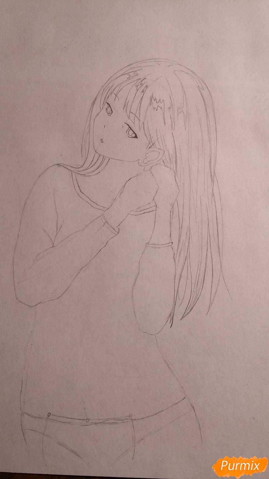 Рисуем милую девушку в аниме стиле карандашами - шаг 4