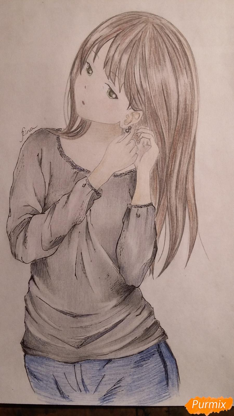 Рисуем милую девушку в аниме стиле карандашами - шаг 9