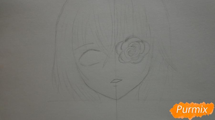 Рисуем Мисаки Мэй из аниме Иная карандашами - шаг 2