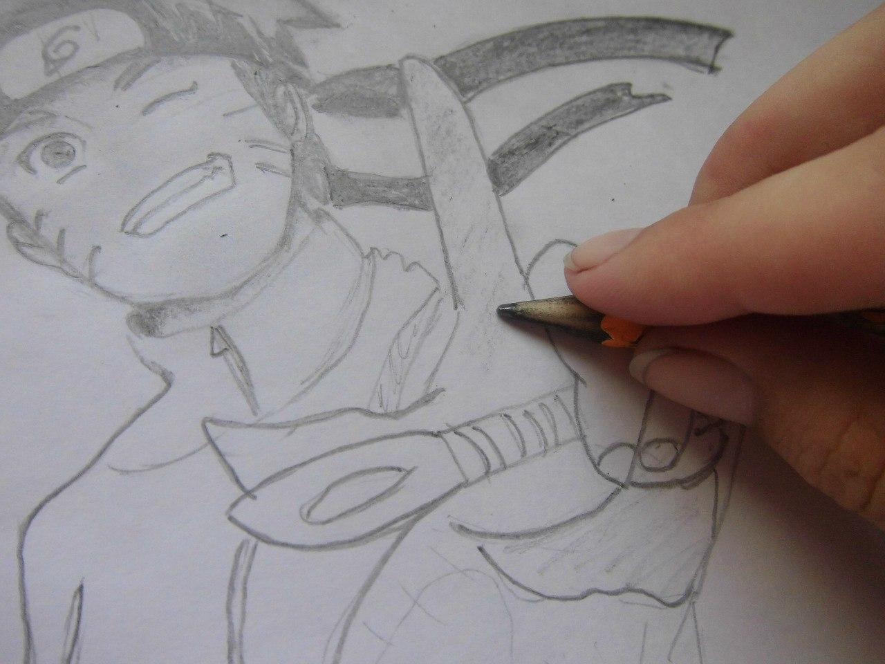 Рисуем Наруто с ножом - шаг 9