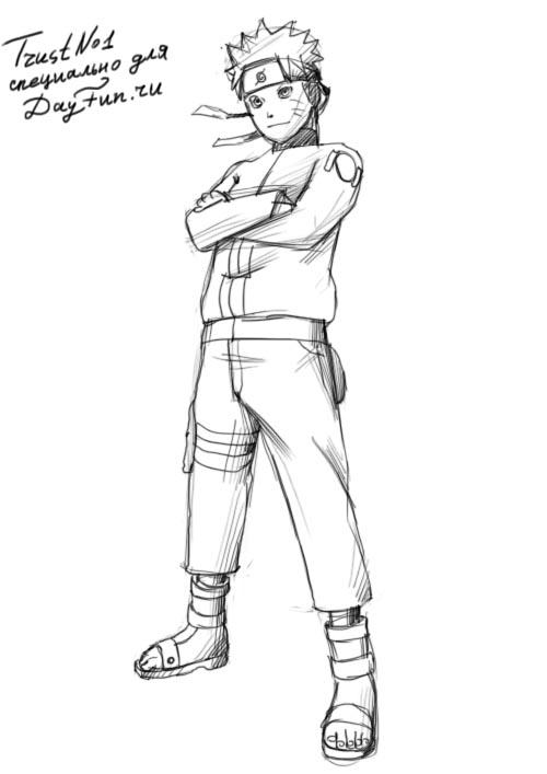 Рисуем Наруто Узумаки - шаг 4