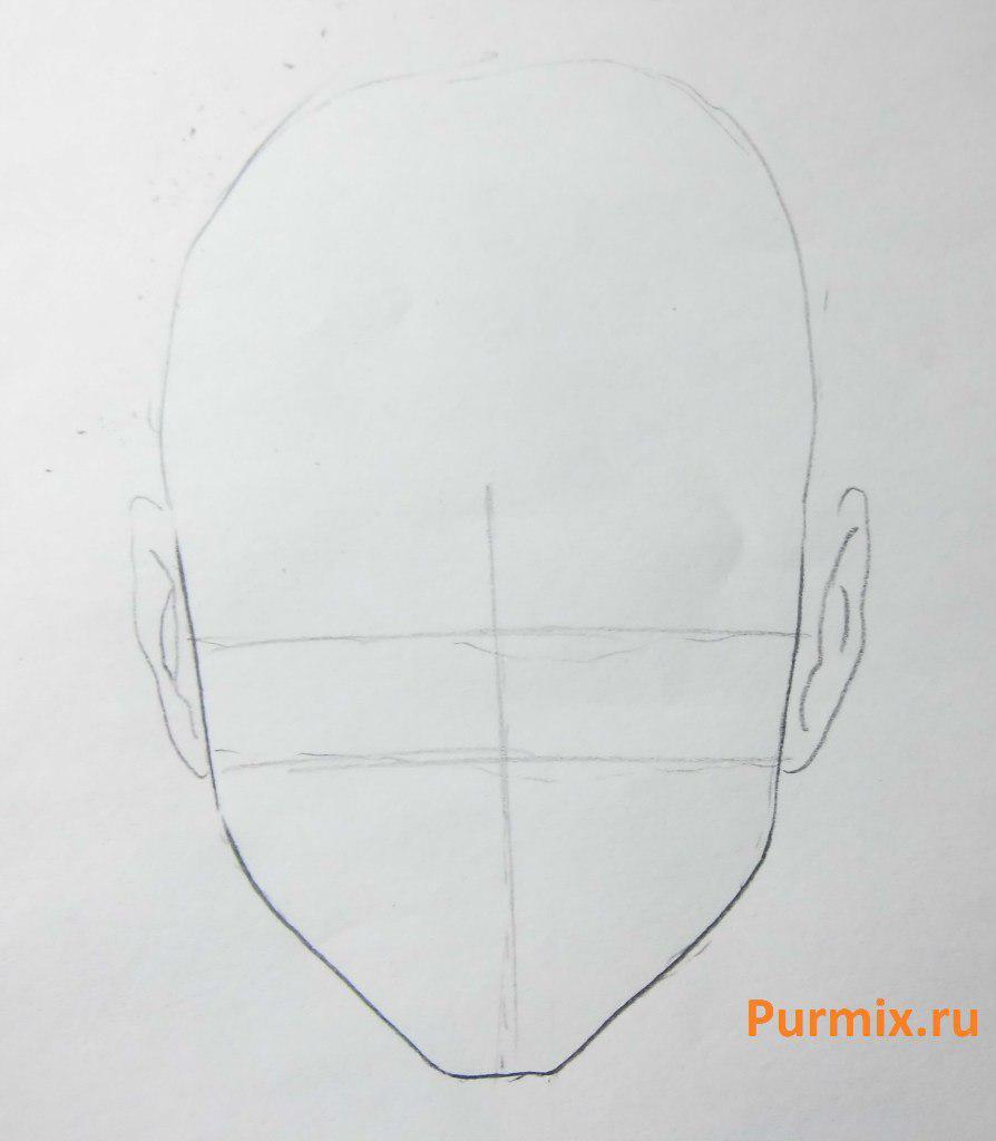 Рисуем Наруто в ярости - шаг 1