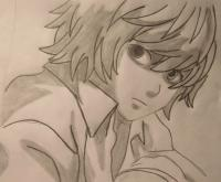 Фото Ниа из аниме Тетрадь смерти карандашом