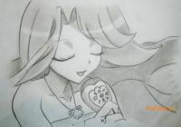 Фото Ноэль из аниме Мелодия русалки карандашом