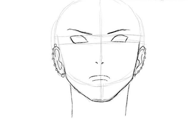 Рисуем Пейна (Нагато) из Наруто - шаг 2