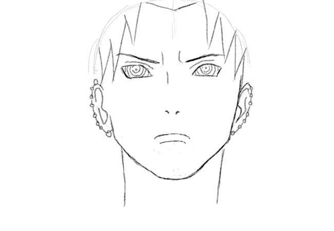 Рисуем Пейна (Нагато) из Наруто - шаг 3