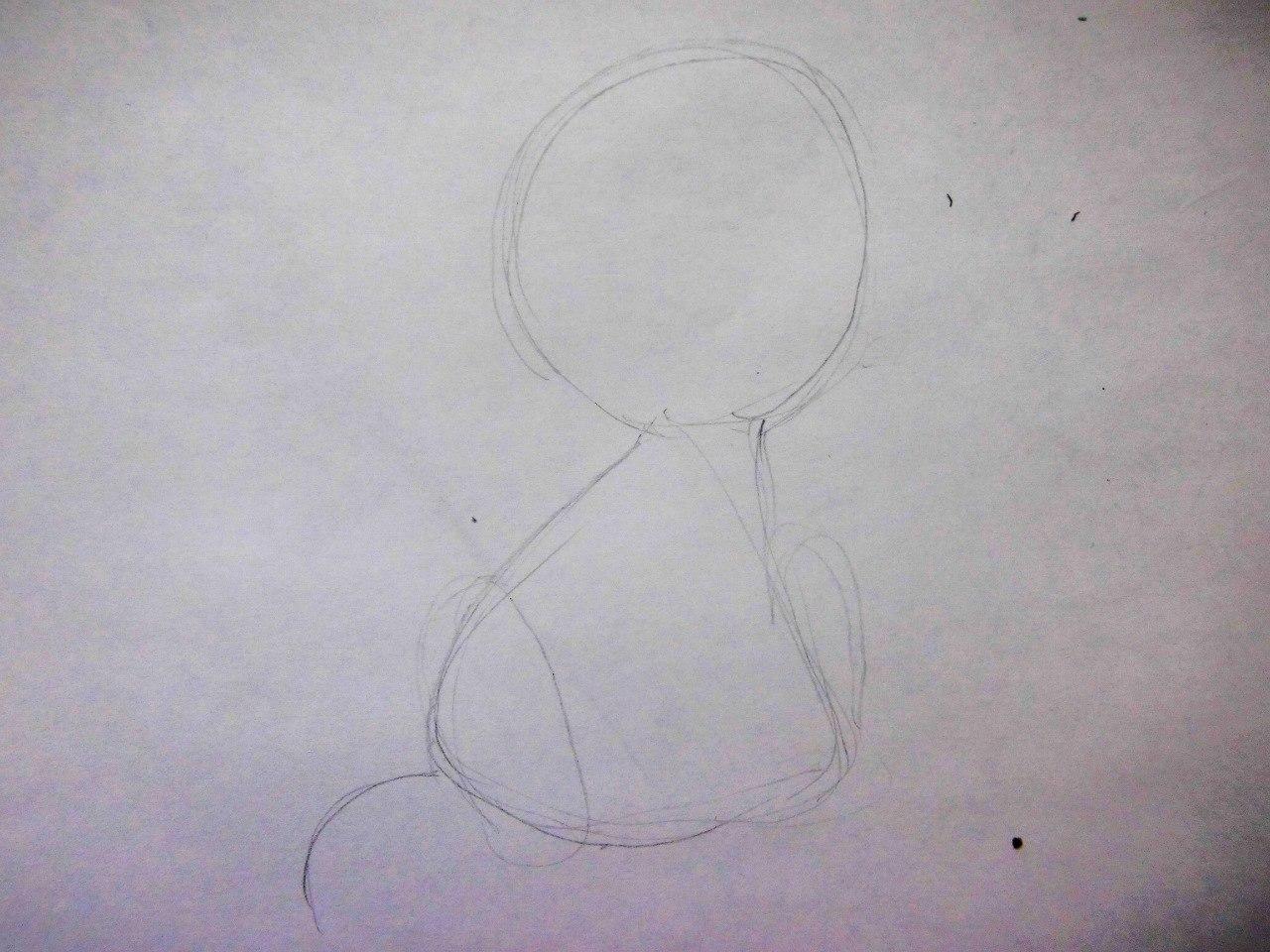 Рисуем плачущего аниме котёнка - шаг 1