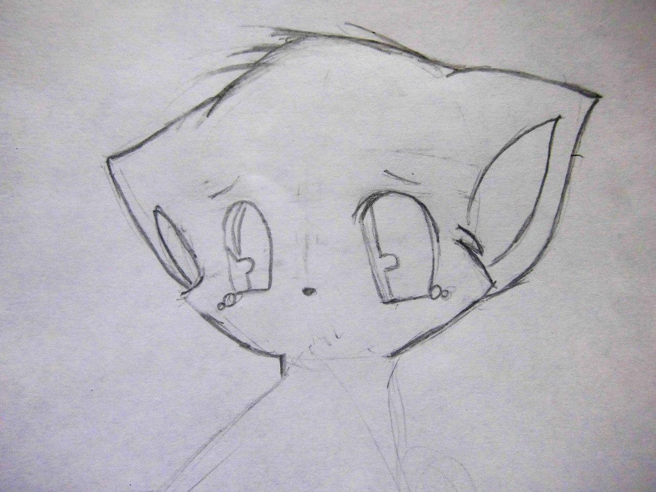 Рисуем плачущего аниме котёнка - шаг 3