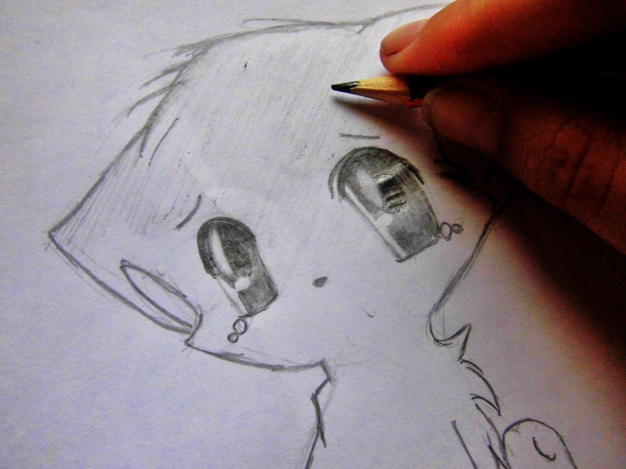 Рисуем плачущего аниме котёнка - шаг 7