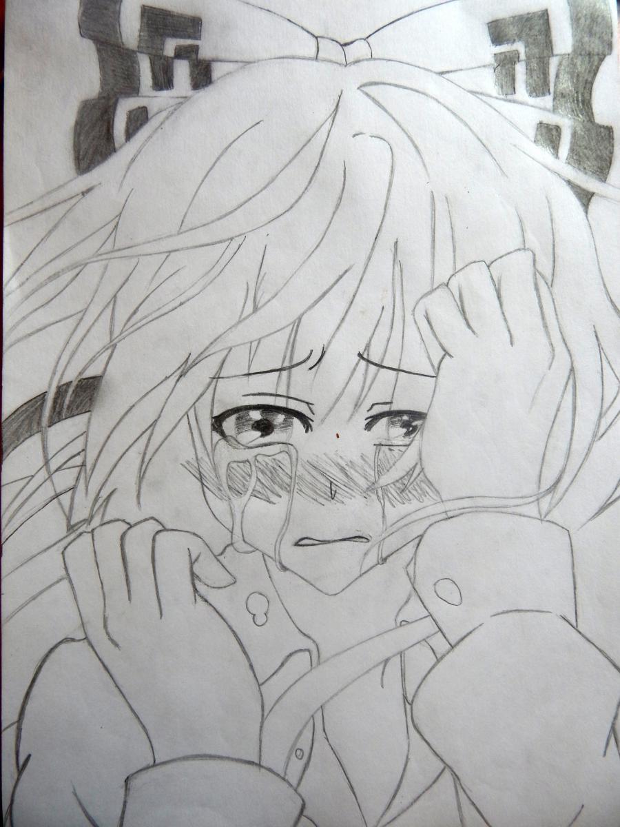 Рисуем плачущую аниме девушку карандашами - шаг 10