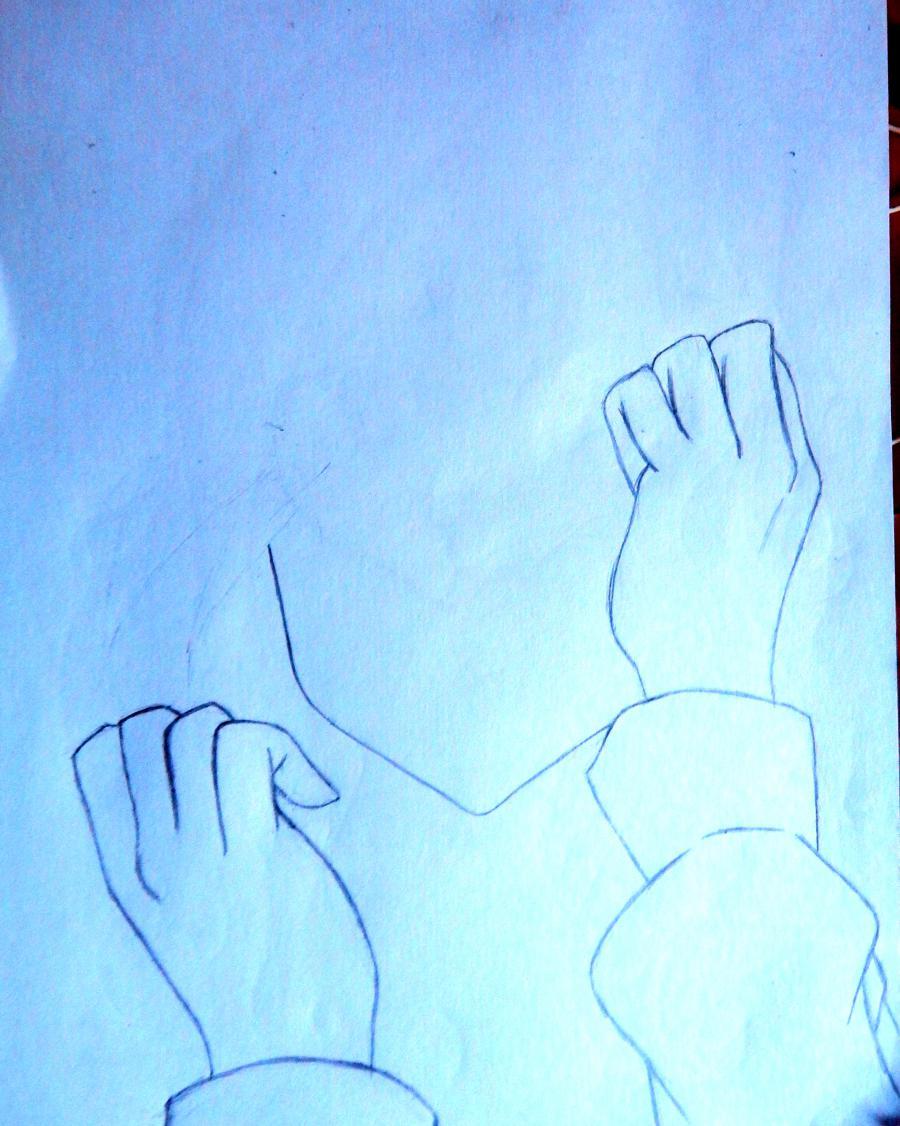 Рисуем плачущую аниме девушку карандашами - шаг 2