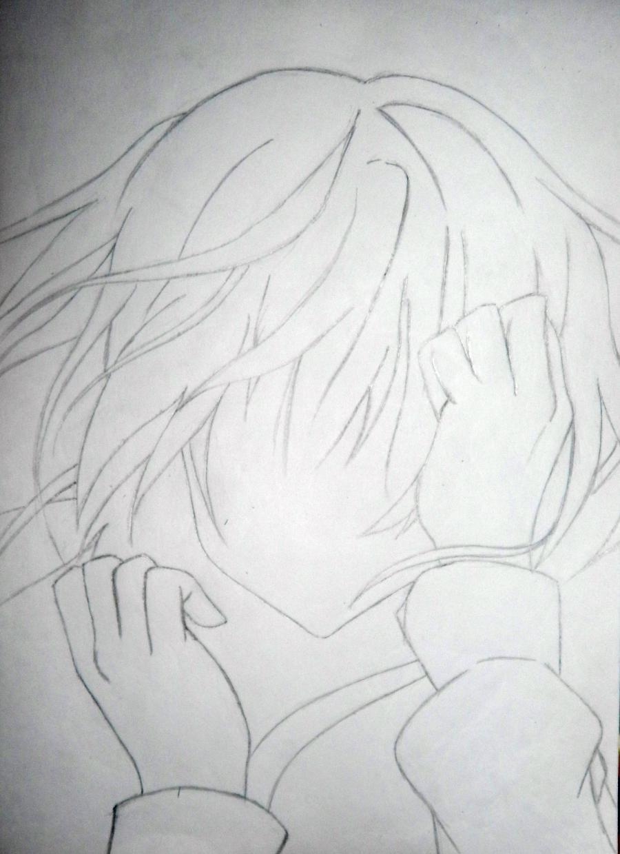 Рисуем плачущую аниме девушку карандашами - шаг 3