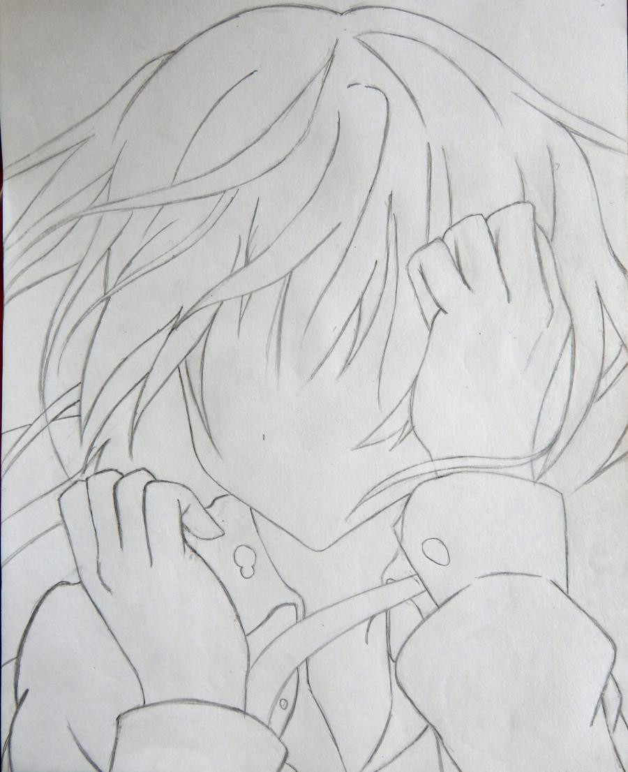 Рисуем плачущую аниме девушку карандашами - шаг 4