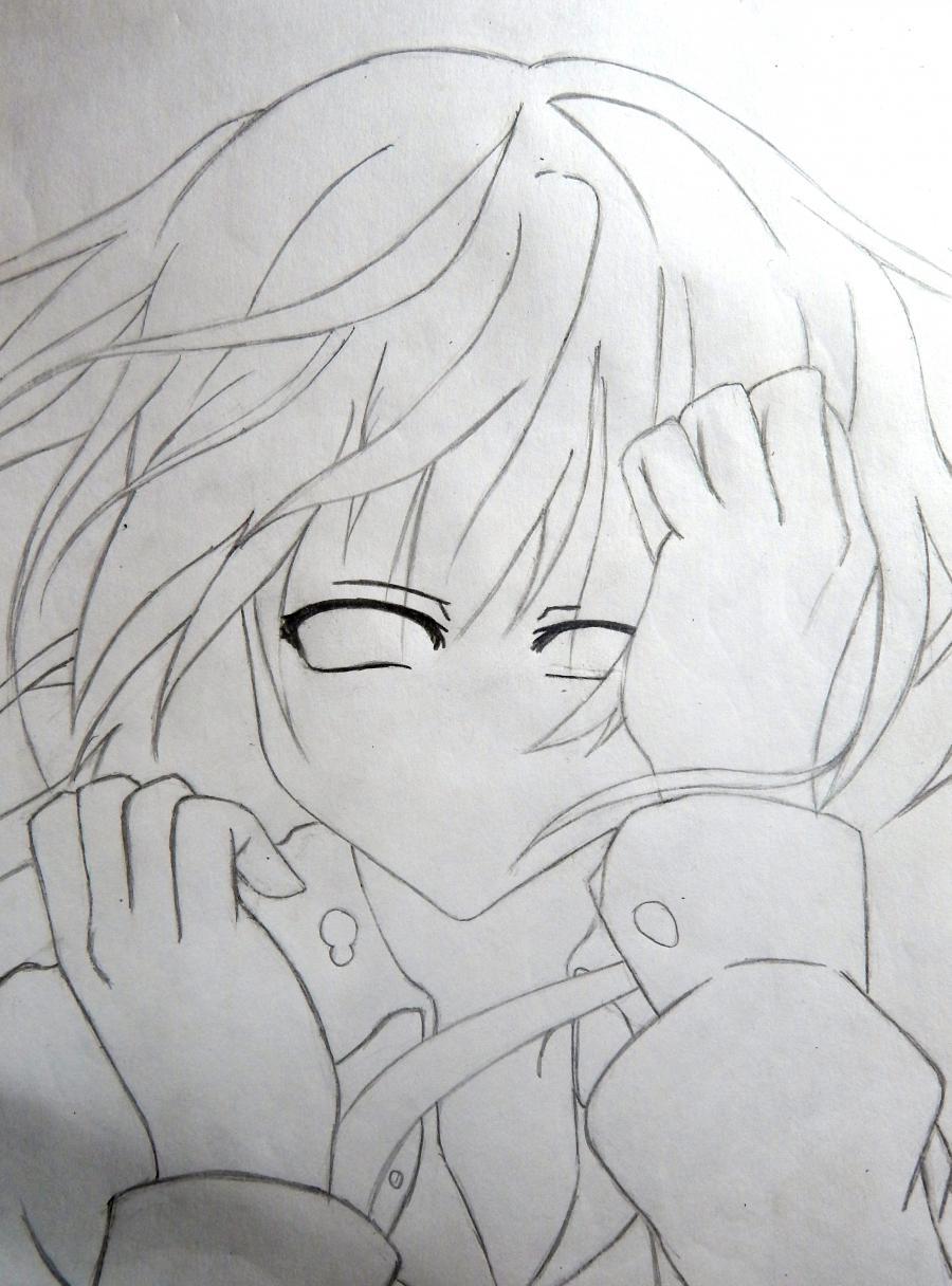 Рисуем плачущую аниме девушку карандашами - шаг 5