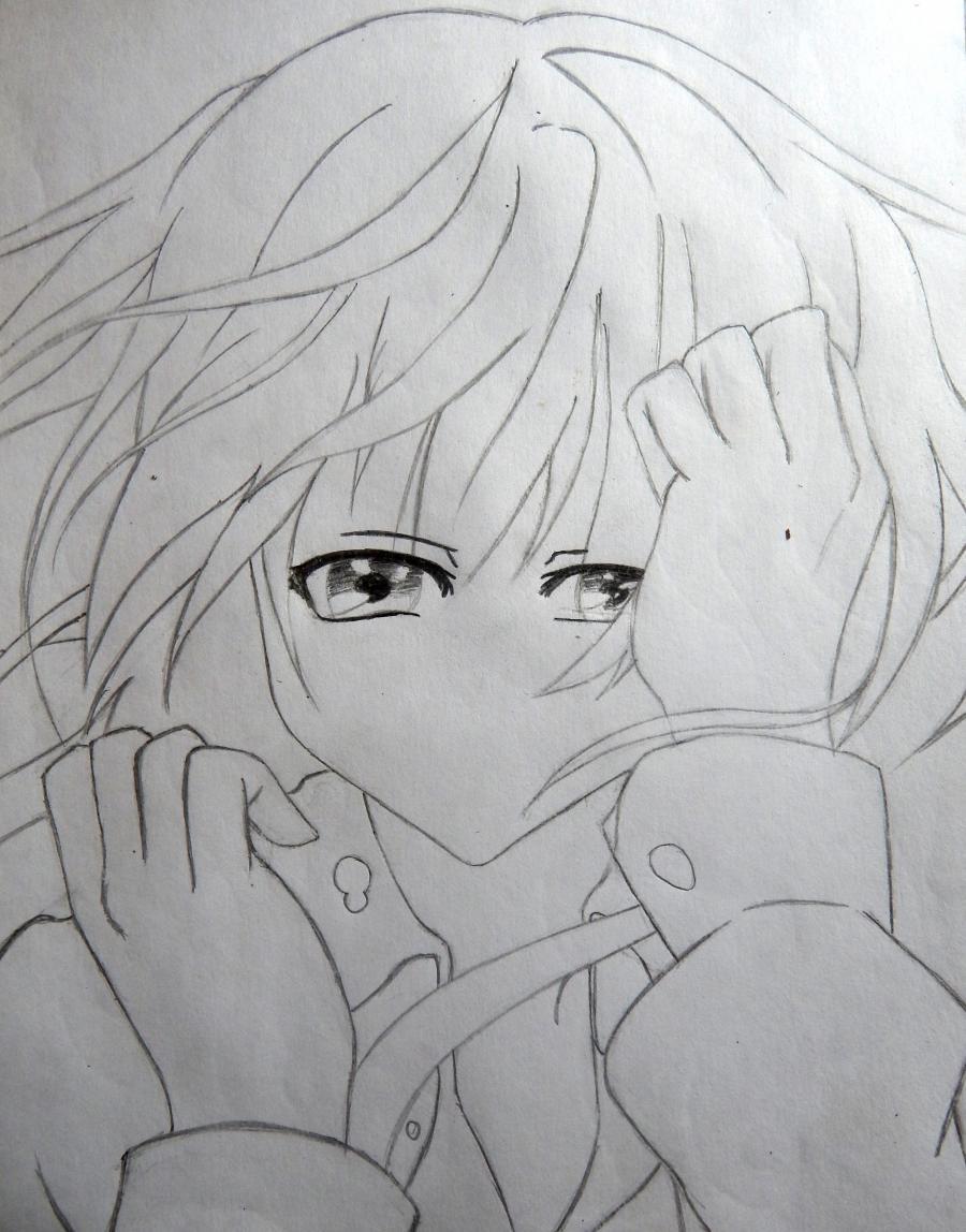 Рисуем плачущую аниме девушку карандашами - шаг 6