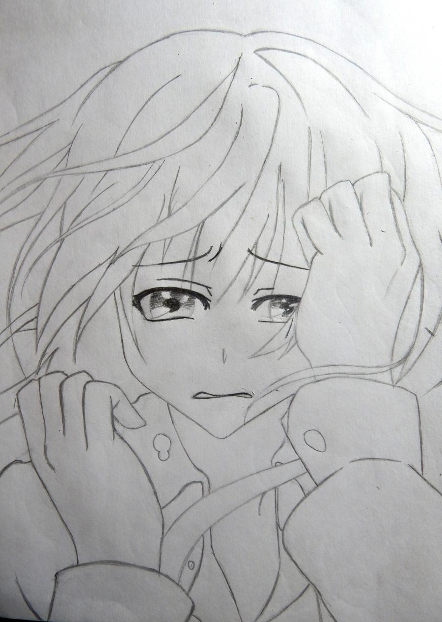 Рисуем плачущую аниме девушку карандашами - шаг 7