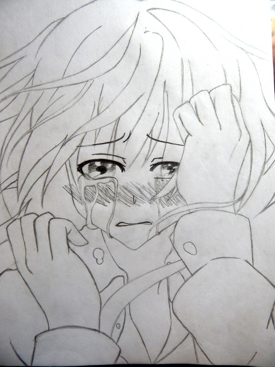 Рисуем плачущую аниме девушку карандашами - шаг 8