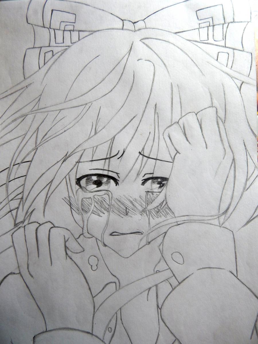 Рисуем плачущую аниме девушку карандашами - шаг 9