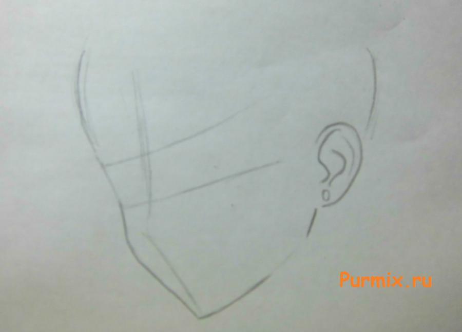 Рисуем портрет Ёсино Тикигава карандашами - шаг 1