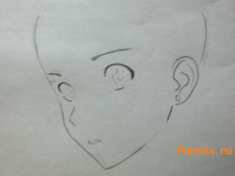 Рисуем портрет Ёсино Тикигава карандашами - шаг 2