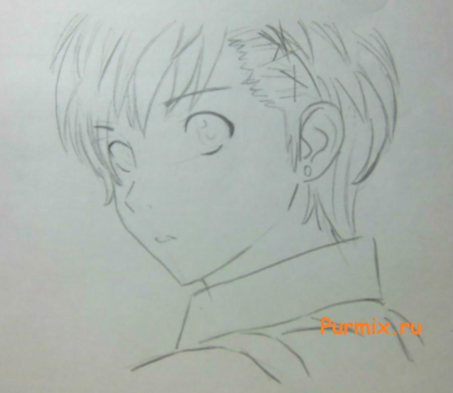 Рисуем портрет Ёсино Тикигава карандашами - шаг 4