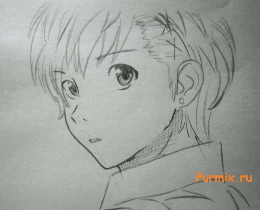 Рисуем портрет Ёсино Тикигава карандашами - шаг 5