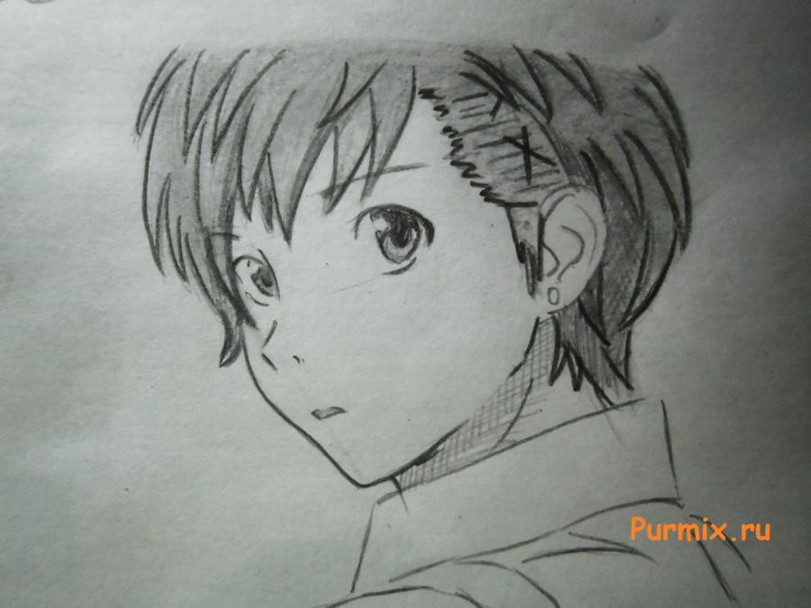 Рисуем портрет Ёсино Тикигава карандашами - шаг 6