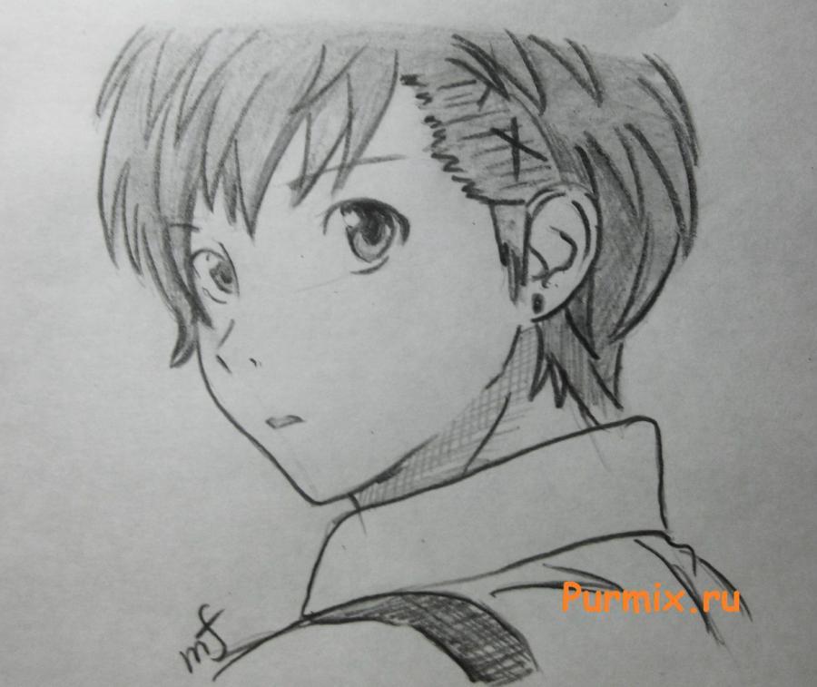 Рисуем портрет Ёсино Тикигава карандашами - шаг 7
