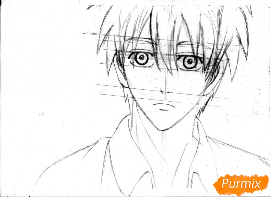 Рисуем портрет Куроко Тэцуя простым - шаг 13
