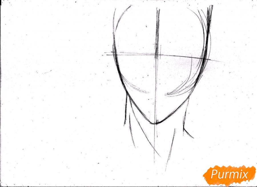 Рисуем портрет Куроко Тэцуя простым - шаг 4