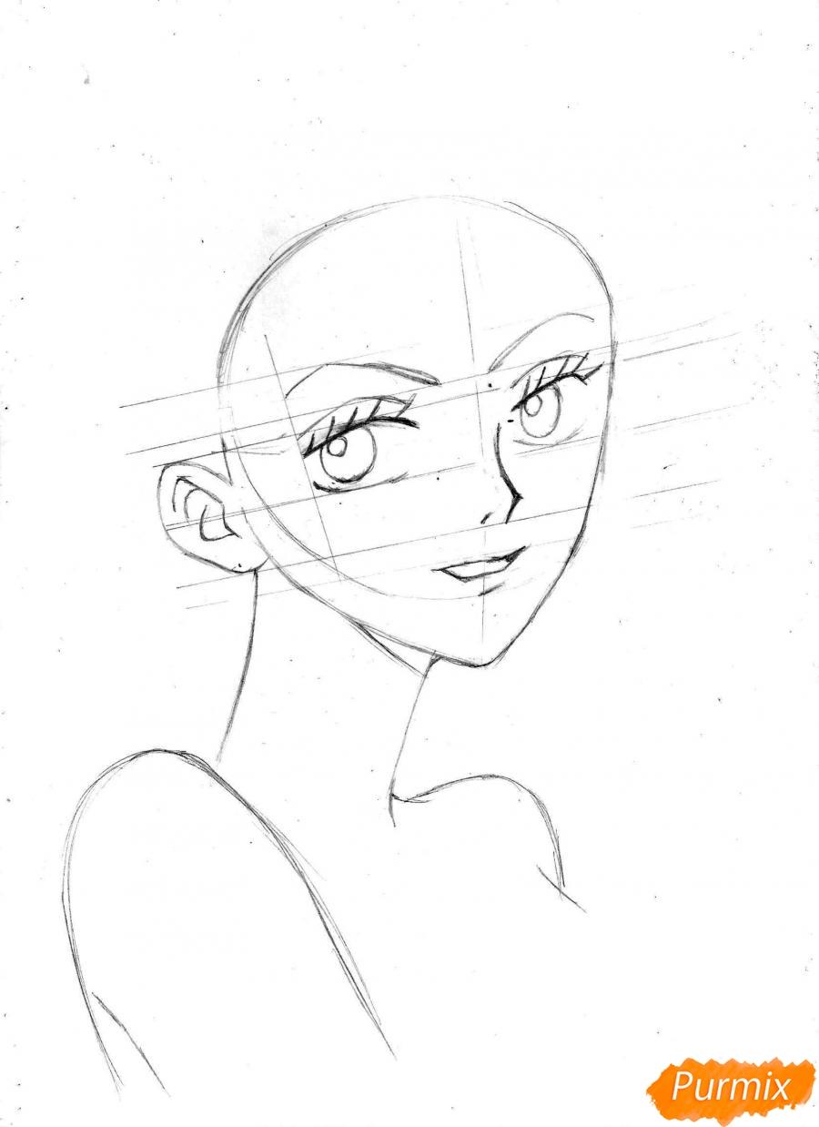 Рисуем и раскрасить портрет Ноджико из One Piece пошагово простым - шаг 10