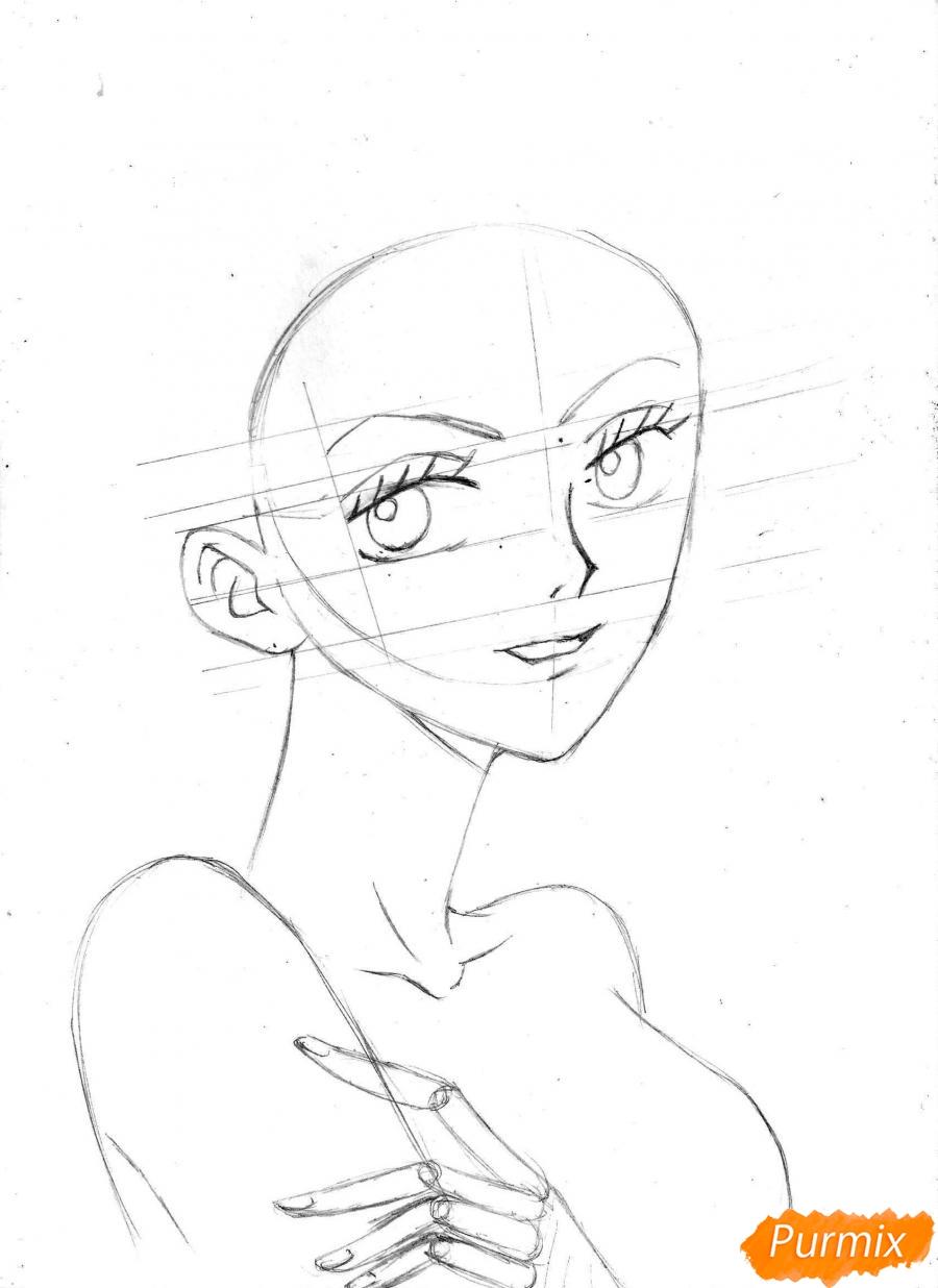 Рисуем и раскрасить портрет Ноджико из One Piece пошагово простым - шаг 12